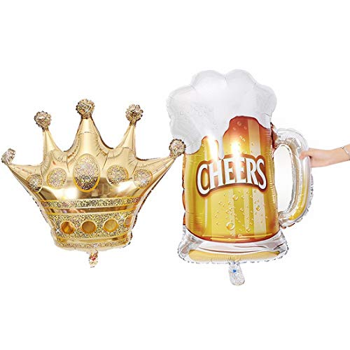 XIAMEND Balloons Beer Mug and Crown Set (10 pcs), Assorted Colored Party Balloons Bulk, Made with Strong Latex, for Helium Or Air Use. Birthday Balloon Arch Supplies, Decoration Accessory