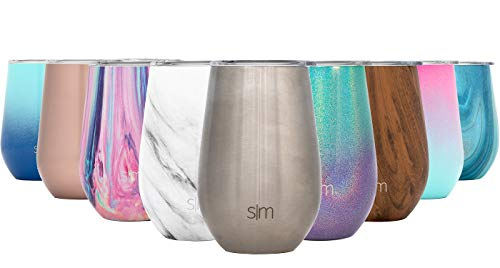 Simple Modern Spirit 12oz Wine Tumbler Glasses with Lid - Vacuum Insulated Stemless 18/8 Stainless Steel Wine Cup -Simple Stainless]()