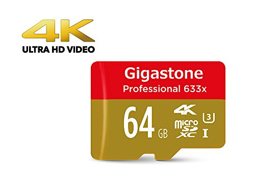 [4K Ultra HD] Gigastone Pro 64GB Micro SD Card U3 up to 95MB/s Memory + SD Card Adapter, Drone, Action camera, Dashcam by Gigastone