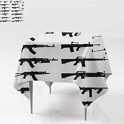DUCKIL Stain-Resistant Tablecloth Silhouette of Various Size Guns Weapons Pistols Revolvers War Army Power Concept and Durable W70 xL70 Black White -