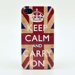 Conseguir Retro Bretaña Mantener la calma y seguir adelante Flag Hard Case para el iPhone 4/4S
