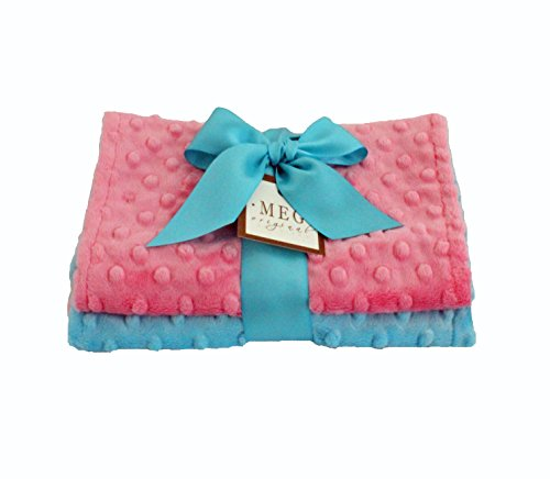 MEG Original Minky Dot Baby Girl Burp Cloths, Set of 2, Paris Pink & Turquoise