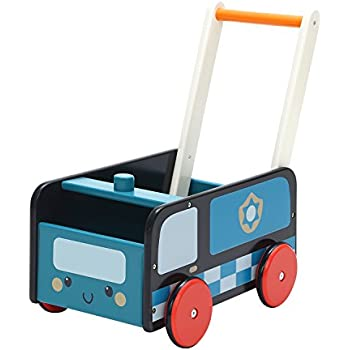 Labebe Baby Walker with Wheel, Blue Police Walker, 2-in-1 Wooden Activity Walker for Baby 1-3 Years, Push Toy/Baby Wagon/Infant Walker Baby/Activity ...