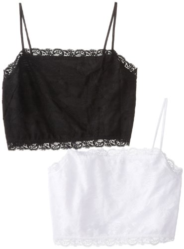 (Pure Style Girlfriends Plus-Size Camiflage 2-Pack Plus Size Lined Stretch Lace Half Camisole, Black/White, 2X)