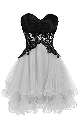 Lemai Tulle Black Lace Short Formal Prom Dresses Cocktail Gowns Homecoming