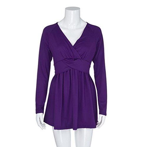 lache Haut V AMUSTER Mode Couleur Chemise de Longues Trompette Profonde Femmes Violet Unie Sexy Blouse Manches Shirt des col La en TaPBnTwqA