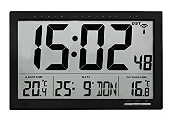 TFA 60.4510.01 Reloj Digital de Pared Negro con termómetro y Sensor Remoto tamaño XXL: Amazon.es: Hogar