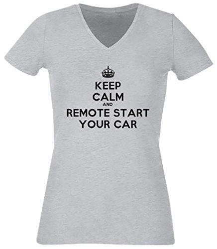 Keep Calm And Remote Start Your Car Gris Coton Femme V-Col T-shirt Manches Courtes Grey Women's V-neck T-shirt
