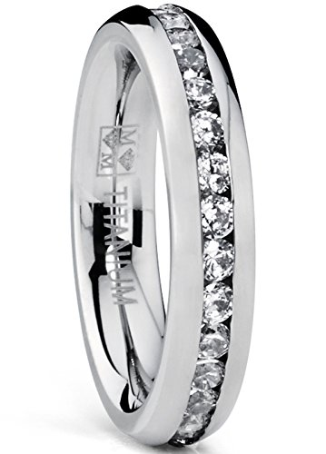 (4MM High Polish Ladies Eternity Titanium Ring Wedding Band with Cubic Zirconia CZ Size 7)