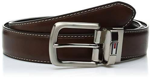 Tommy Hilfiger Reversible Leather Belt - Casual for Mens Jeans with Double Sided Strap and Silver Buckle, Dark Brown, 34 ()