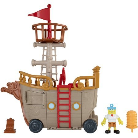 Fisher-Price Imaginext Nickelodeon SpongeBob SquarePants Krabby Patty Food Truck Toy, Includes Invincibubble figure, cash register, 1 Krabby Patty play piece, 2 projectiles and removable flag