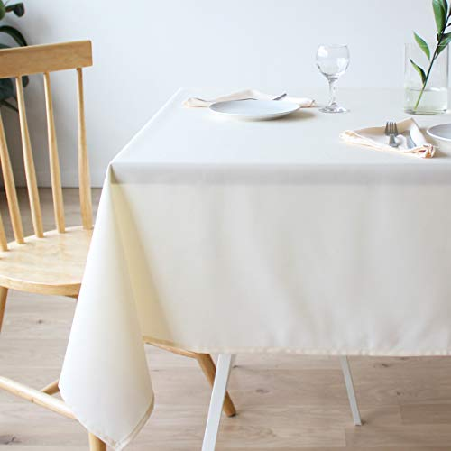 Stain Resistant Ivory Tablecloth Polyester Table Cover - For Kitchen Dining room Washes Easily Non Iron Wrinkle free - Thanksgiving Christmas New Year Eve dinner (IVORY Plain, Rectangle 60
