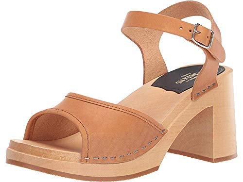 swedish hasbeens Women's Inger Block Heel Clogs, Nature, Tan, 40 M EU