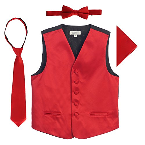 Gioberti Boys 4pc Formal Vest Set, Red, 4-5