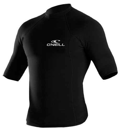 O'Neill Wetsuits UV Sun Protection Mens Thermo-X Short Sleeve Crew Sun Shirt Rash Guard, Black, X-Small Short Sleeve Thermo Guard