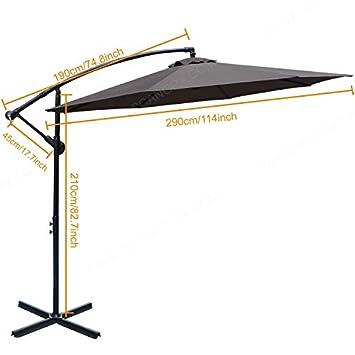 ABCCANOPY Patio Umbrellas Cantilever Umbrella Offset Hanging Umbrellas 10 FT Outdoor Market Umbrella with Crank Cross Base for Garden, Deck, Backyard, Pool and Beach, 12 Colors, Dark Gray