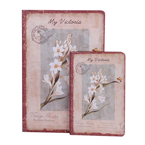 2 Packs Hardcover Notebooks Vintage Flower Notebook Back to School Journal for Girls and Women Composition Notebook Vintage Floral Design Cover Gift Idea