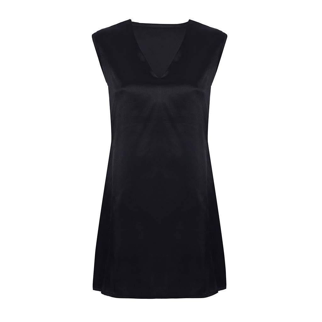 yoyorule Casual Summer Dress Women Fashion Pure Color Plus Size Fashion Summer V-Neck Vest Dress