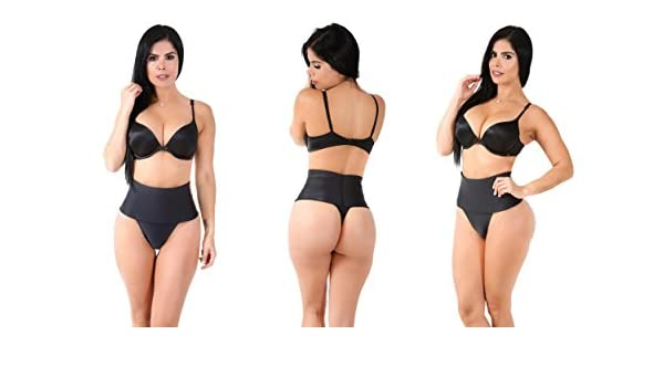 dd4786a1c Amazon.com  Smok69 Everyday Control High-Waisted Shaping Thong Black   Sports   Outdoors