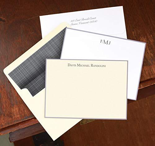 Hand Bordered Correspondence Cards - Gray Hand Bordered Correspondence Cards - Set of 25-9148