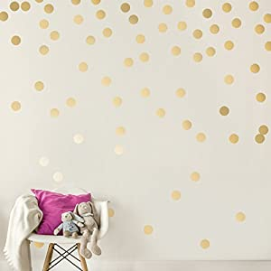 Easy Peel + Stick Gold Wall Decal Dots – 2 Inch (200 Decals) – Safe on Walls & Paint – Metallic Vinyl Polka Dot Decor – Round Circle Art Glitter Stickers – Large Paper Sheet Baby Nursery Room Set