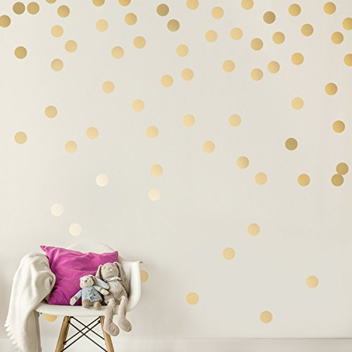 Easy Peel + Stick Gold Wall Decal Dots - 2 Inch (200 Decals) - Safe on Walls & Paint - Metallic Vinyl Polka Dot Decor - Round Circle Art Glitter Stickers - Large Paper Sheet Baby Nursery Room Set ()