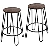 "Furmax 24"" Metal stools Stackable Round Wood Top Backless Metal Indoor-Outdoor Counter Height Stackable bar Stools (2 Pack) Review"