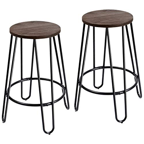 Furmax 24'' Metal stools Stackable Round Wood Top Backless Metal Indoor-Outdoor Counter Height Stackable bar Stools (2 Pack)