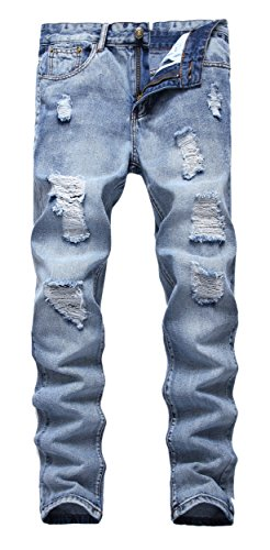 FEESON Men's Ripped Slim Fit Straight Denim Jeans Vintage Style with Broken Holes 05 W29