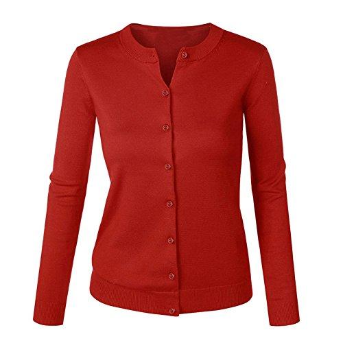 VOBAGA Mujer O-cuello Botón Chaqueta Cardigan casual Sueter Chaqueta Punto para Mujer Wine Red