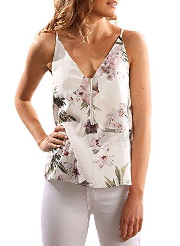 leeveless Tshirt Sexy V Neck Boho Beach Floral Printed Tank Tops Juniors, Purple, (US12-14)Large ()