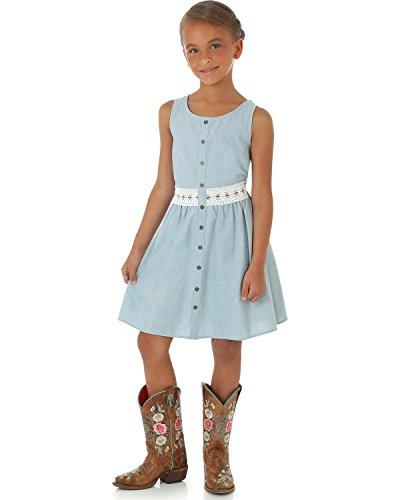 Wrangler Girls' Sleeveless Button Placket Crocheted Trim Dress Blue 16 (Dress Crocheted Girls)