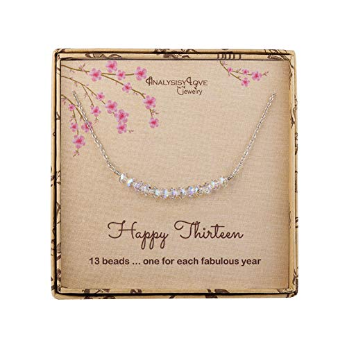 AnalysisyLove 13th Birthday Gifts for Girls, Sterling Silver Beads Necklace for 13 Year Old Girl Jewelry - Birthday 13th Gift