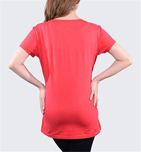Sciolto Camicetta Gravidanza Manica Donna Maglietta Corta Pregnancy Maternity Bluse Taglie Superiori Red6 Semplice Top Estive Forti Shirt Incinta Casual FONLONLON T C6gOqgZ