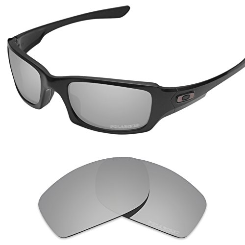 Tintart Performance Lenses Compatible with Oakley Fives Squared Polarized Etched-Silver Metallic