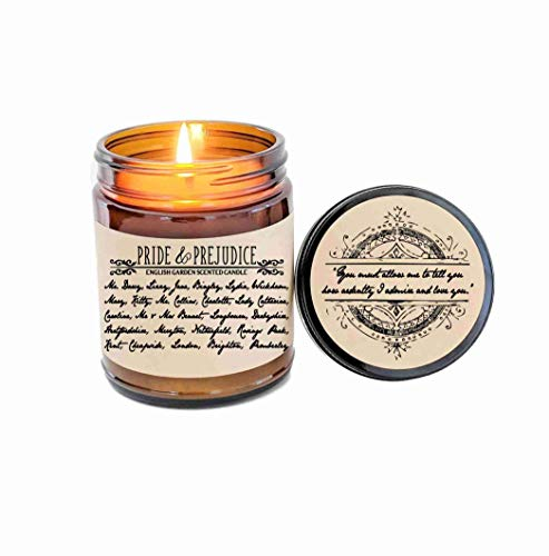Pride and Prejudice Candle Gift Mr Darcy Jane Austen Book Lover Gift Book Inspired Literary Candle Bookworm Gift Literary Quote Movie Candle ()