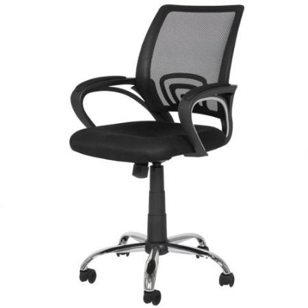 Contemporary Deluxe Computer Desk - New Mesh Computer Office Desk Task Midback Task Chair w/ Sturdy Metal Base, Contemporary and Ergonomic Design, Deluxe Home and Office Furniture, Adjustable Height with Padded and Molded Armrest