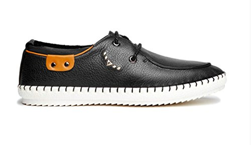 Punta Cuero Zapatos Zapatos Llana Para Casual Hombre Black Hombre MUYII Oxfords De Deportivos Sport De Zapatos De EwqnHT8