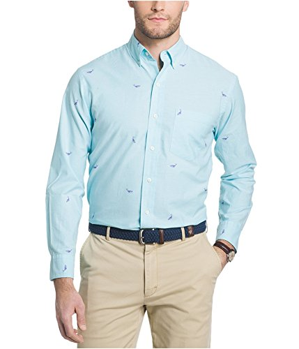 IZOD Mens Newport Oxford Button Up Shirt, Blue, X-Large