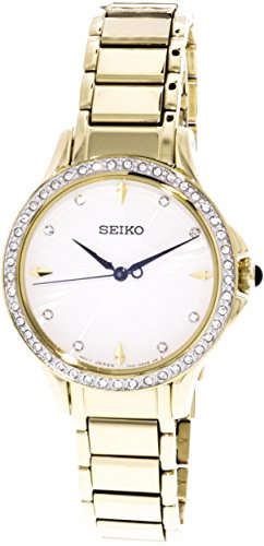 Seiko Classic SRZ488P1 Wristwatch for women With diamonds (Seiko Diamond Wrist Watch)