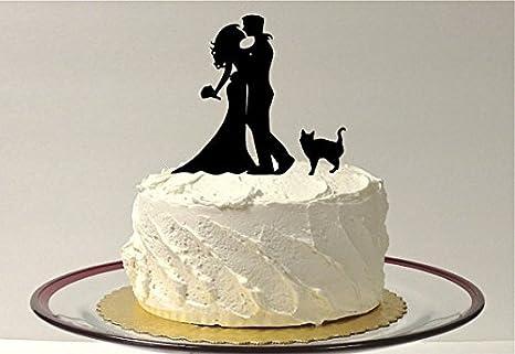 Amazon Com Wedding Cake Topper With Cat Silhouette Wedding Cake