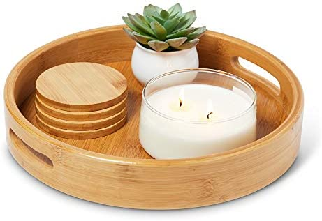 """KONAWISE BAMBOO ROUND WOODEN OTTOMAN TRAY - 12"""" INCHES - NATURAL BAMBOO SERVING TRAY - ECO-FRIENDLY COFFEE TABLE TRAY - POLISHED - CARRYING HANDLES - FREE COASTERS"""