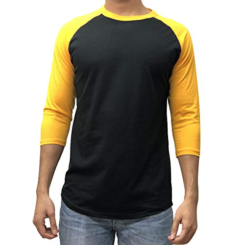 3ff7df44 KANGORA Men's Plain Raglan Baseball Tee T-Shirt Unisex 3/4 Sleeve Casual  Athletic Performance Jersey Shirt (24+ Colors) (Black Gold, X-Large)