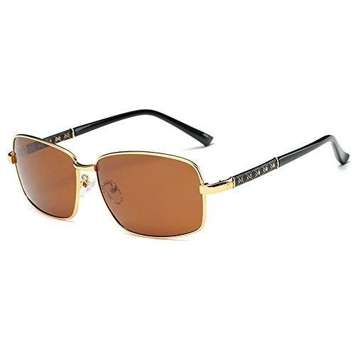 Fauhsto Protection Driving Lens Glasses Sunglasses UV tea Polarized Men's Gold Sunglasses Eyeglasses Sunglasses Mirror Frame rRq4Uvrw