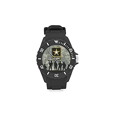 Birthday Gifts US Army Soldiers and Camouflage Background Kids' Round Rubber Sport Watch