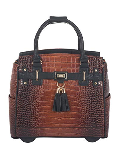 Wheeled Ladies Briefcase Removable (Less Than Perfect Boston Alligator Crocodile Alligator Computer iPad, Laptop Tablet Rolling Tote Bag Briefcase Carryall Bag)