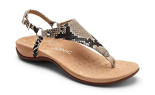 (Vionic Women's Rest Kirra Backstrap Sandal - Ladies Sandals with Cocealed Orthotic Support Natural Snake 11M)