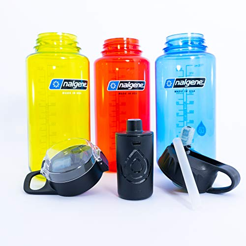 The Answer | Nalgene Compatible Water Bottle Filter System | Filter Straw Lid Combo Fits Nalgene 32 oz Wide Mouth Bottle | American Made Filter Removes 99.99% of Tap Water Contaminants Lead Fluoride ()