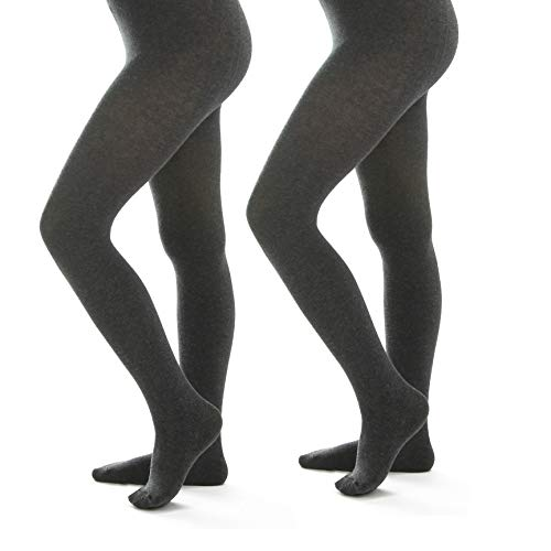 (Women's Winter Cotton Sweater Flat Knit Footed Tights (C, Grey - 2 Pair) )