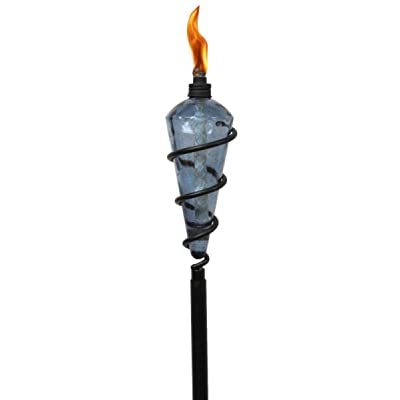 TIKI Brand 64-inch Swirl Metal Torch with Blue Bubble Glass Head : Garden & Outdoor